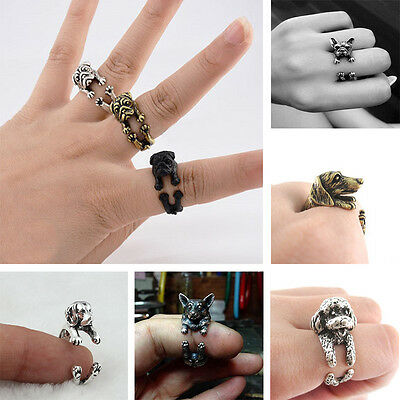 Fashion Jewelry Vintage Antique Bronze Bulldog Finger Wrap Animal Open Ring Gift
