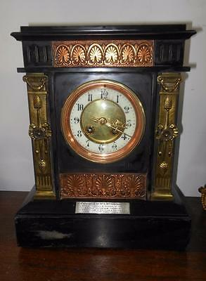 french marbel and brass mantel clock c1902