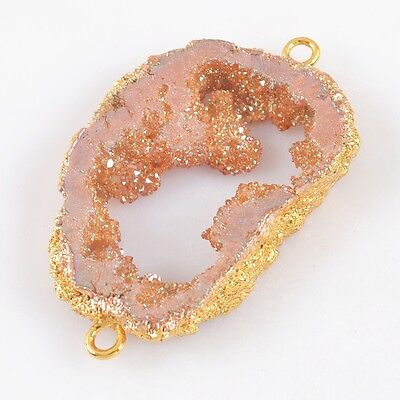 Natural Agate Titanium Druzy Slice Connector Gold Plated T025042
