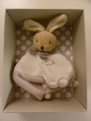 16/ DOUDOU ET COMPAGNIE LAPIN PLAT BLANC COL GRIS TAUPE CARRE 16 cms  - NEUF