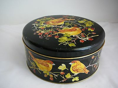 Empty Biscuit tin with birds berries decorative made in Denmark