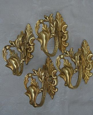 ANTIQUE FRENCH BRONZE CURTAINS TIEBACKS SET OF 4 LOUIS XV STYLE 2 PAIRS XIXth C