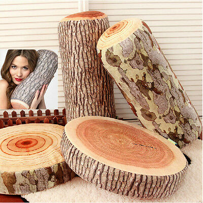 Wood Log Home Sofa Seat Chair Car Throw Cushion Pillow Cover Case Lumbar Support