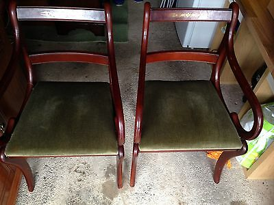 Pair Reproduction Carver Dining Kitchen  Chairs Wood With Brass Inlay