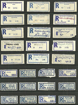 Selection/lot 33 Different Registered Labels From Rhodesia Nyasaland Malawi