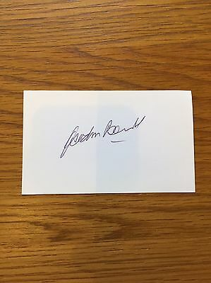 1966 England World Cup Signed White Card By Gordon Banks