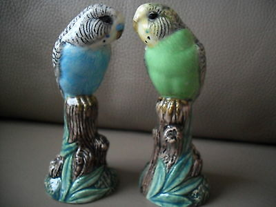 Delightful Quail Pottery Pair Of Budgie Figurines Perfect