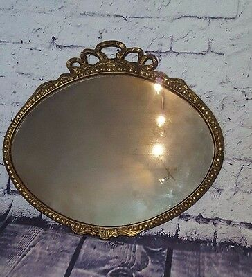 Vintage Antique Brass Gold Wall Mounted Hanging Ornate Decorative Mirror Oval