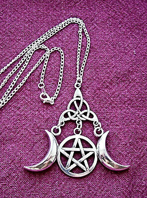 """Silver Triple Moon Goddess Pendant 18""""ch Necklace Pentacle Triquetra Pagan Wicca"""