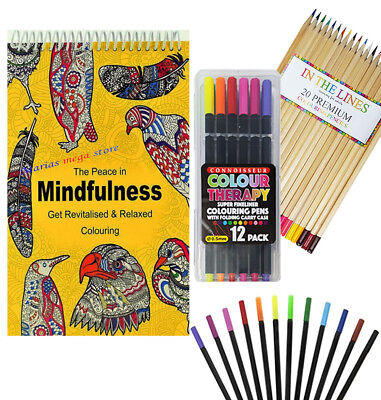 Adult Colouring Book Spiral Colour Therapy Anti Stress 100 Pages Animal Designs