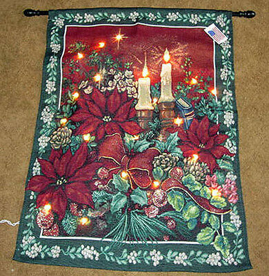 Evening Solitude Christmas Poinsettias & Candles Tapestry Wall Hanging ~ LIGHTED