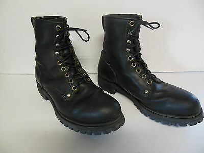 Mens Vintage Black Leather Knaap Steel Toe Cycle Work Boots 12 D Good Used!!!