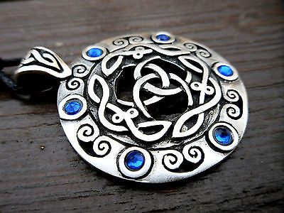 Viking TRIPLE HORN of ODIN Pendant Cord Necklace Blue Silver Norse Celtic Pewter
