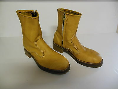 Ladies Tan Brown Iron Age Leather Work Safety Boots Zippered Size 8.5 D New!!!