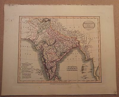 JOHN CARY MAP OF HINDOOSTAN - INDIA 1813 FROM HIS New Elementary Atlas