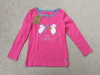 LOVELY GIRLS JOULES CHRISTMOUSE LONG SLEEVE TSHIRT XMAS TOP BNWT 4yrs