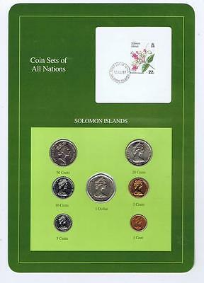 Solomon Islands 7 pc Mint set 1977-88 BU Coin Sets of All Nations stamp