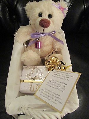 ONE OF A KIND MEMORIAL Bear in a lined basket with ashes vial, charms +parcel