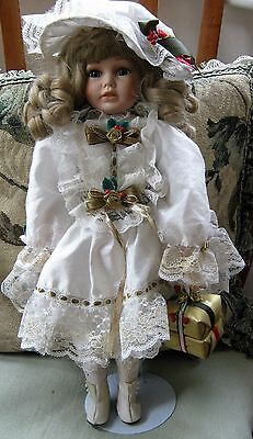 """Porcelain And Fabric Doll On Stand 18"""" Tall Christmas Costume"""