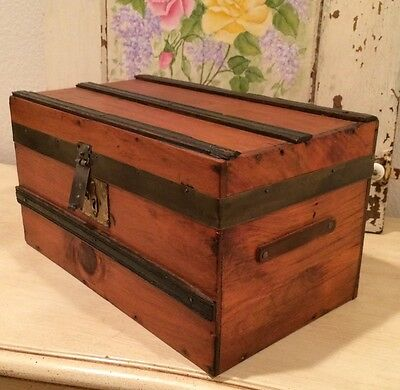 ANTIQUE WOOD TRAVEL or DOLL TRUNK ~ Fully Refinished with Tray