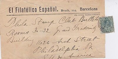 """Spain-1900 5 c green on printed matter """"The Spanish Philatelic"""" cover to USA"""