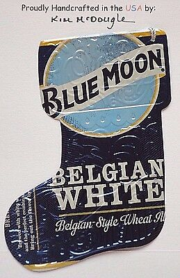 Lg Stocking Handmade Christmas Ornament Recycled Aluminum Blue M Beer Can