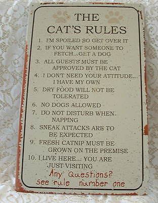 """New Distressed Cats Rules 10"""" x 16"""" Crazy Cat Lover Kitten Metal Wall SIGN"""
