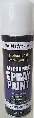 All Purpose White Gloss Spray Cans Paint Interior Exterior 250ml