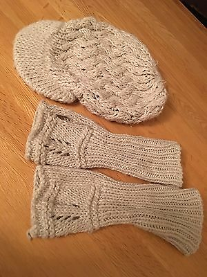 Cream Knit Hat And Fingerless Gloves