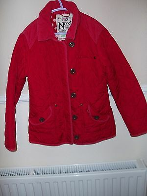 Girls Quilted Jacket  Age 9-10 Quilted Coat Red Next Used Childrens Kids Winter