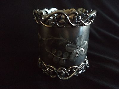 Victorian Silverplate Napkin Ring With Pierced Design Monogrammed