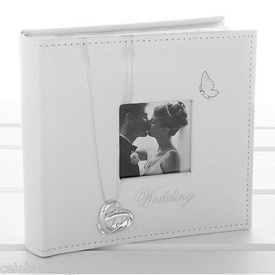 "Wedding Photo Album - Rings & Butterfly - Holds  80 4"" x 6"" Pictures - New Gift"