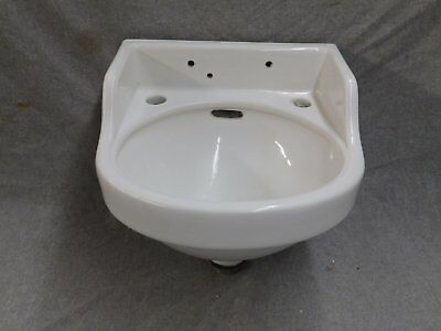 Small Vintage White Porcelain Ceramic Wall Mount Bathroom Sink Old 2156-16
