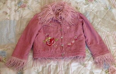 Monsoon Girls Pink Cord Embroidered Jacket Age 4-6 Years