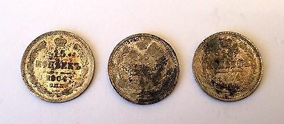 Lot of 3 Russian Empire Silver Coins 15 Kopek