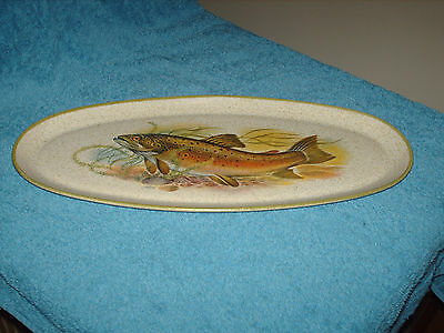 purbeck pottery rainbow trout   oval plate   fish 37 cm by 16.5 cm