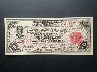 Philippines WWII banknote for Ten Pesos dated 1942.