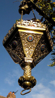 "c1900 Antique Brass Ecclesiastical Sanctuary Lamp Chandelier Lantern - 38"" Drop"