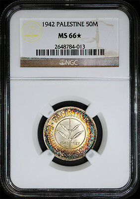 1942 Palestine 50M NGC MS 66 Star Blazing and Colorful