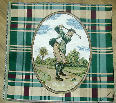 Cotton Woven Tapestry Picture Golfer Unframed