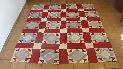 "ca 1920 cotton patchwork hand stitched quilt top, 76"" x 59"""