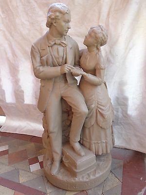 ANTIQUE VICTORIAN 19thC JOHN ROGERS GROUPING PARTING PROMISE LADY MAN STATUE