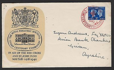 GB 1940 Centenary 2½d on illustrated FDC London Red Cross Exhibition special can