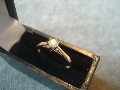LADIES .750 18CT YELLOW GOLD DIAMOND .15ct 1.9g SIZE K BOXED REF 8328