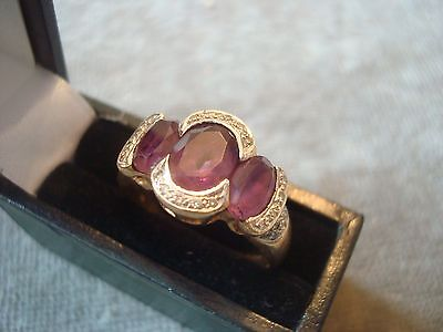 LADIES .375 9CT YELLOW GOLD DIAMOND / AMETHYST 5.1g SIZE S BOXED REF 8374