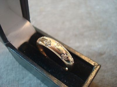 LADIES 9CT .375 YELLOW GOLD DIAMOND RING 2g SIZE O 1/2 BOXED REF 7258