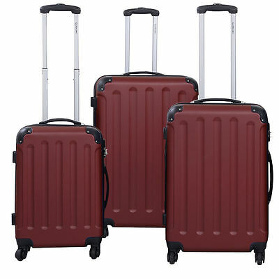 2016 New 3 Pcs Luggage Travel Set Bag ABS+PC Trolley Suitcase Wine
