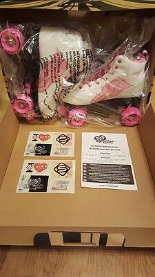 SFR Rio Quad Roller Skates Pure in Pink & White, BNIB Adult uk Size 7 New in Box