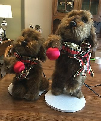 RARE Commercial Pair Of Dogs Animated Christmas Department Store Display