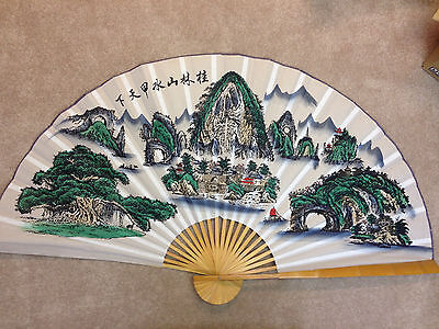 Beautiful Antique Chinese Brise Fan - handmade - over 5-ft wide and 3-ft high!